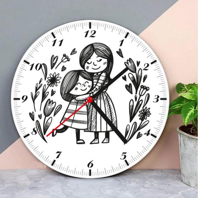 Anne Kız  Ahşap Duvar Saati