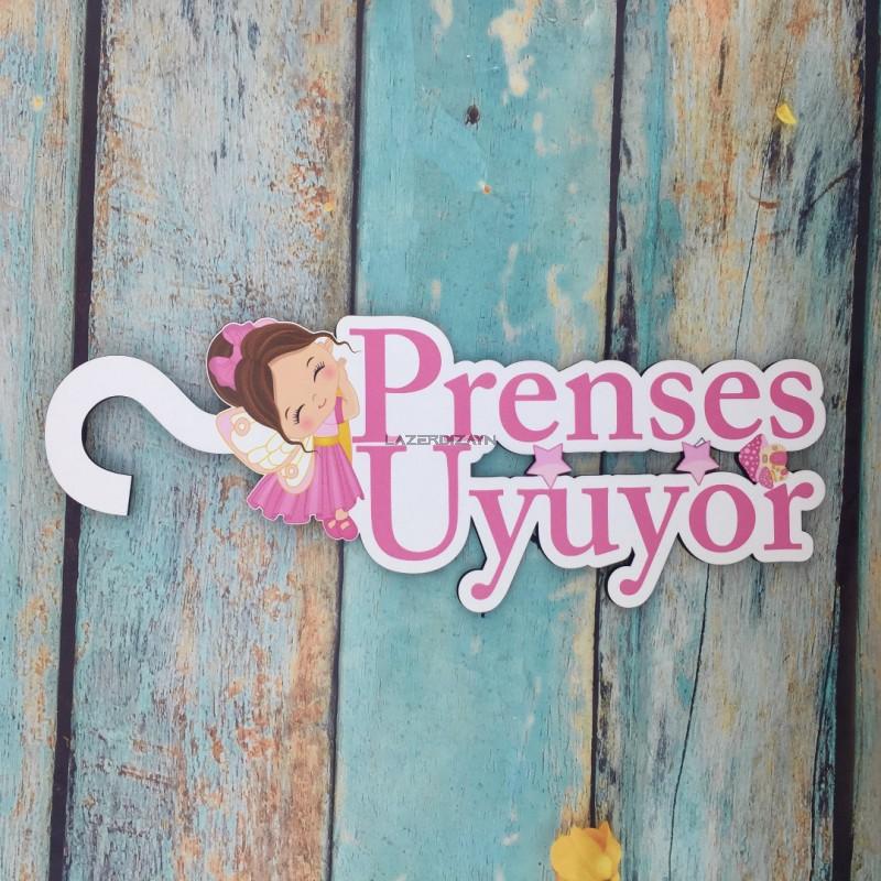 Prenses Uyuyor Ahşap Kapı Askısı