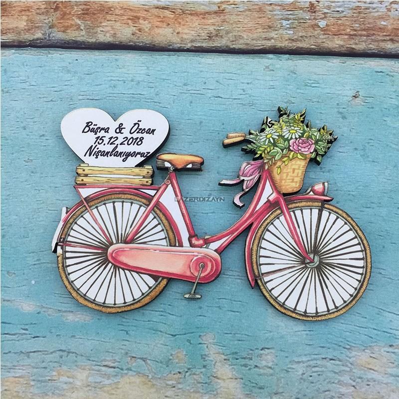 Ahşap Bisiklet Söz Nişan Düğün Magneti