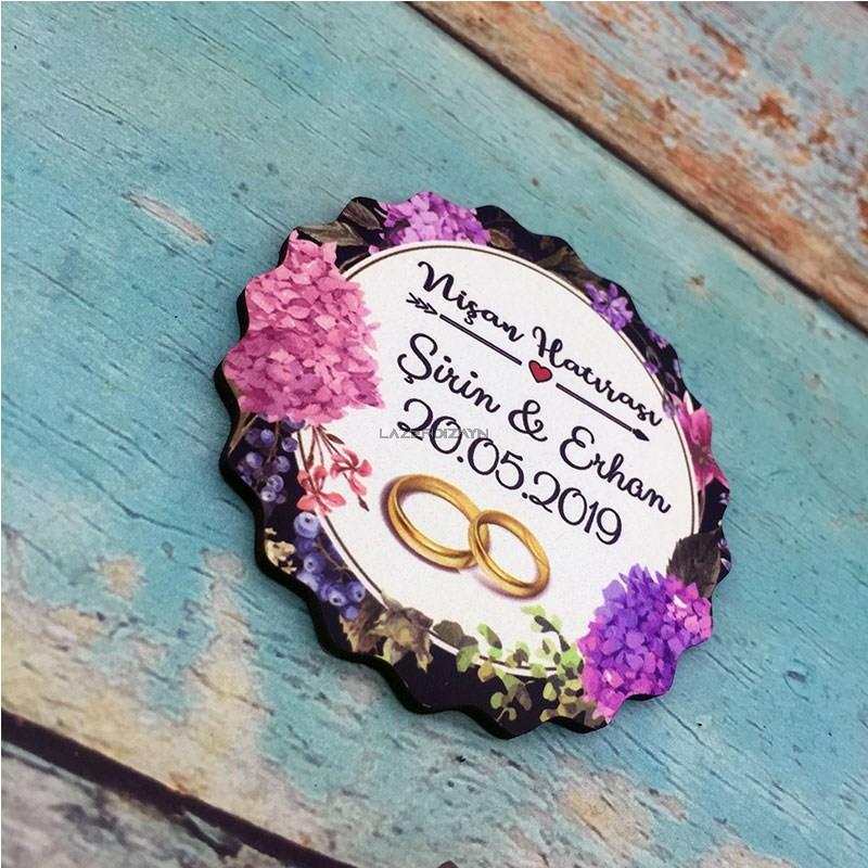 Ahşap Yuvarlak Söz Nişan Düğün Magneti